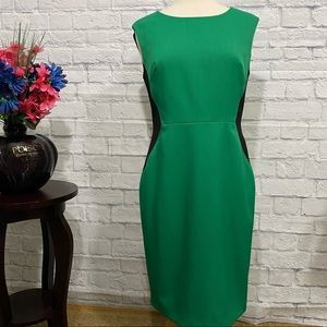 Jones New York Green Sheath Midi Career Dress Sz 8